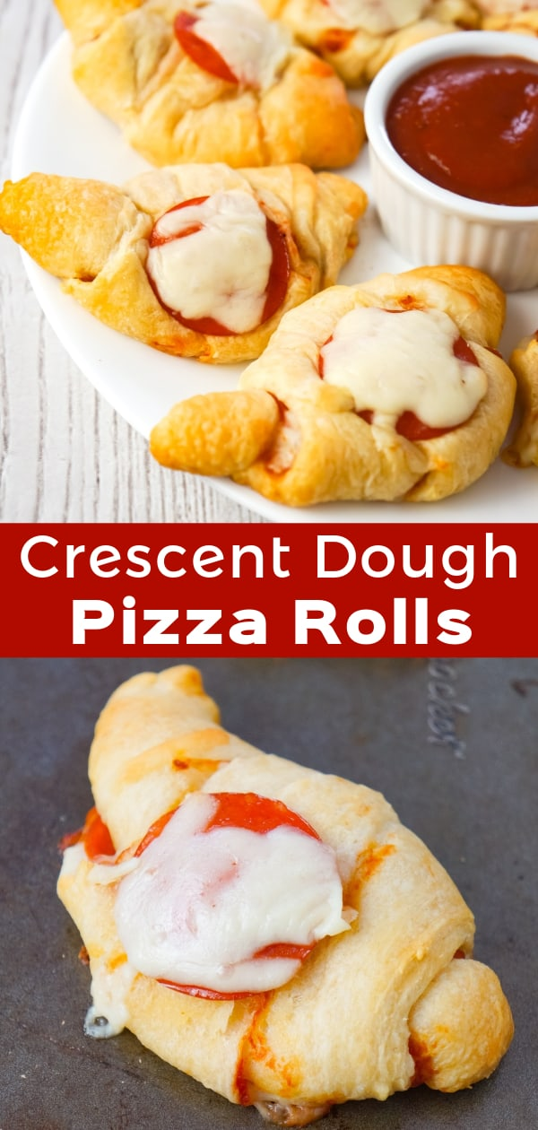 Pizza Crescent Rolls are an easy dinner or party snack recipe using Pillsbury crescent rolls, pepperoni, mozzarella cheese and pizza sauce.