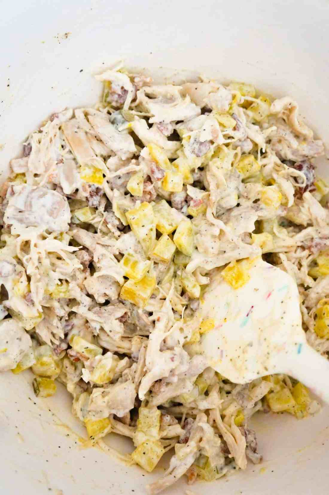 dill pickle chicken mixture in a mixing bowl