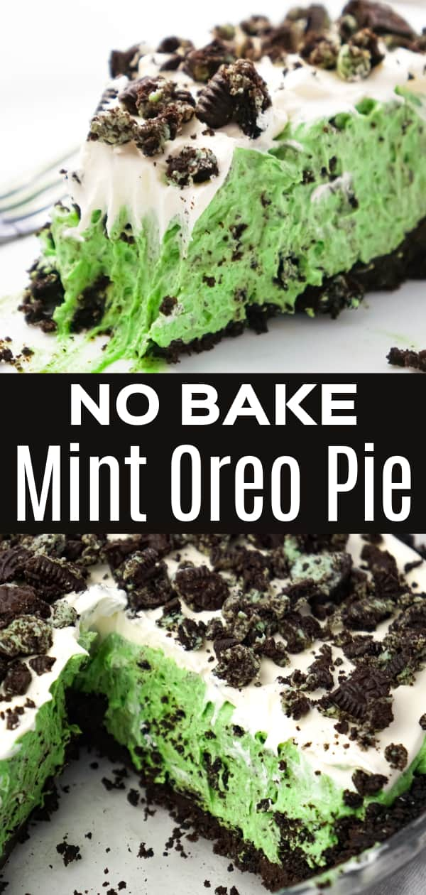 Mint Oreo Pie is an easy no bake dessert recipe with a creamy mint Oreo pudding filling, topped with Cool Whip, all in an Oreo crust.