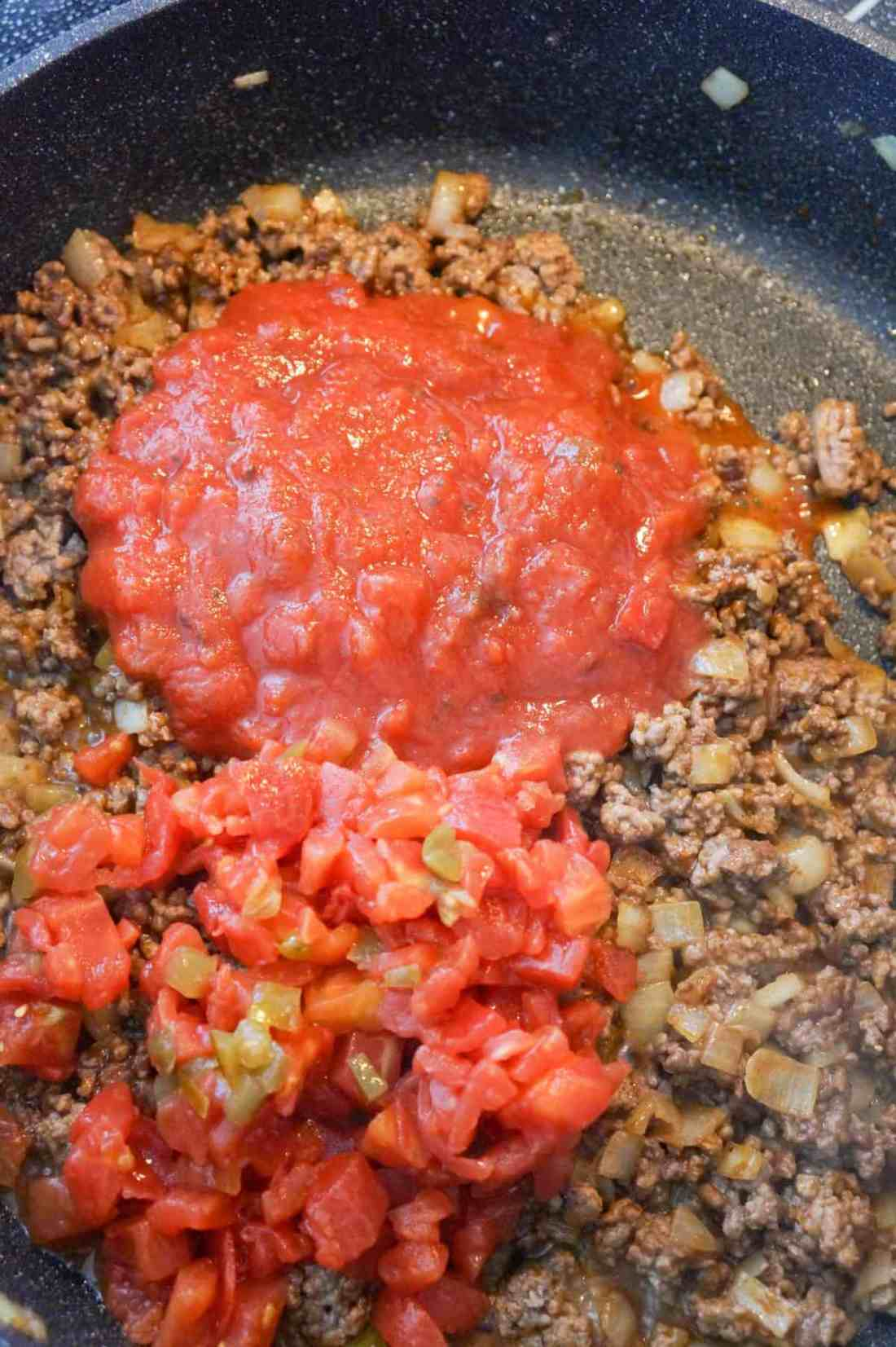salsa and rotel on top of ground beef in a saute pan