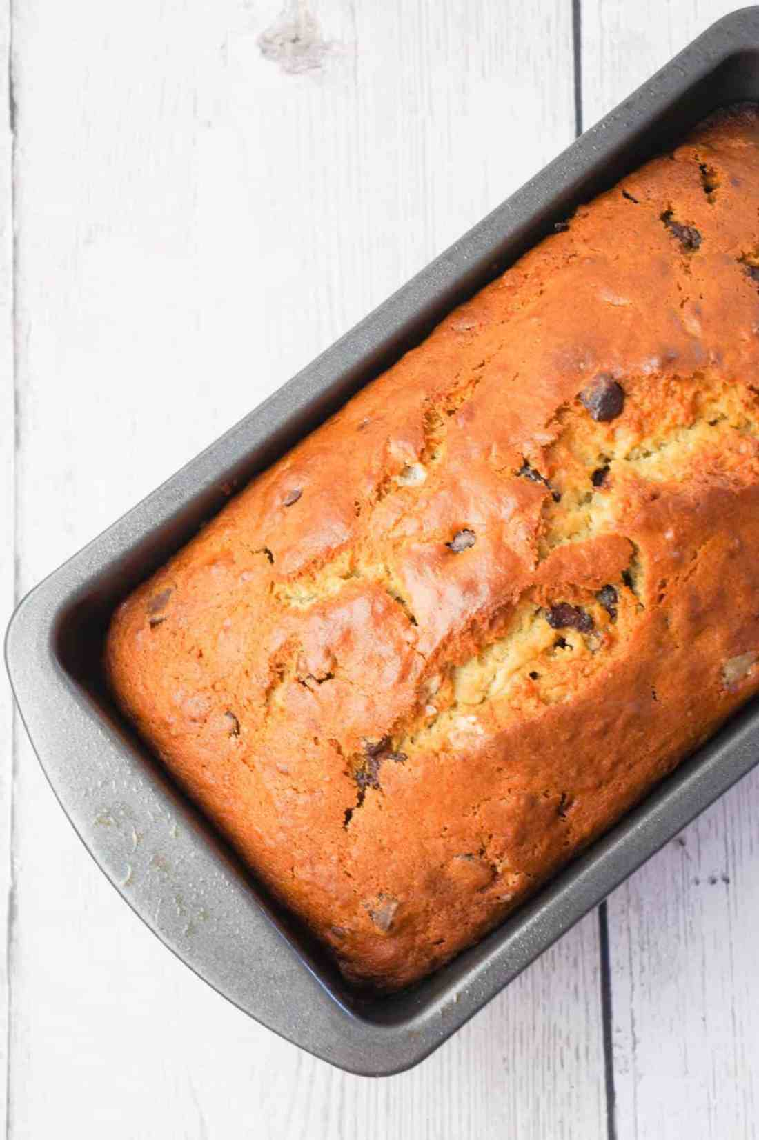 Chocolate Chip Banana Bread is a tasty treat made with ripe bananas and loaded with semi-sweet chocolate chips.