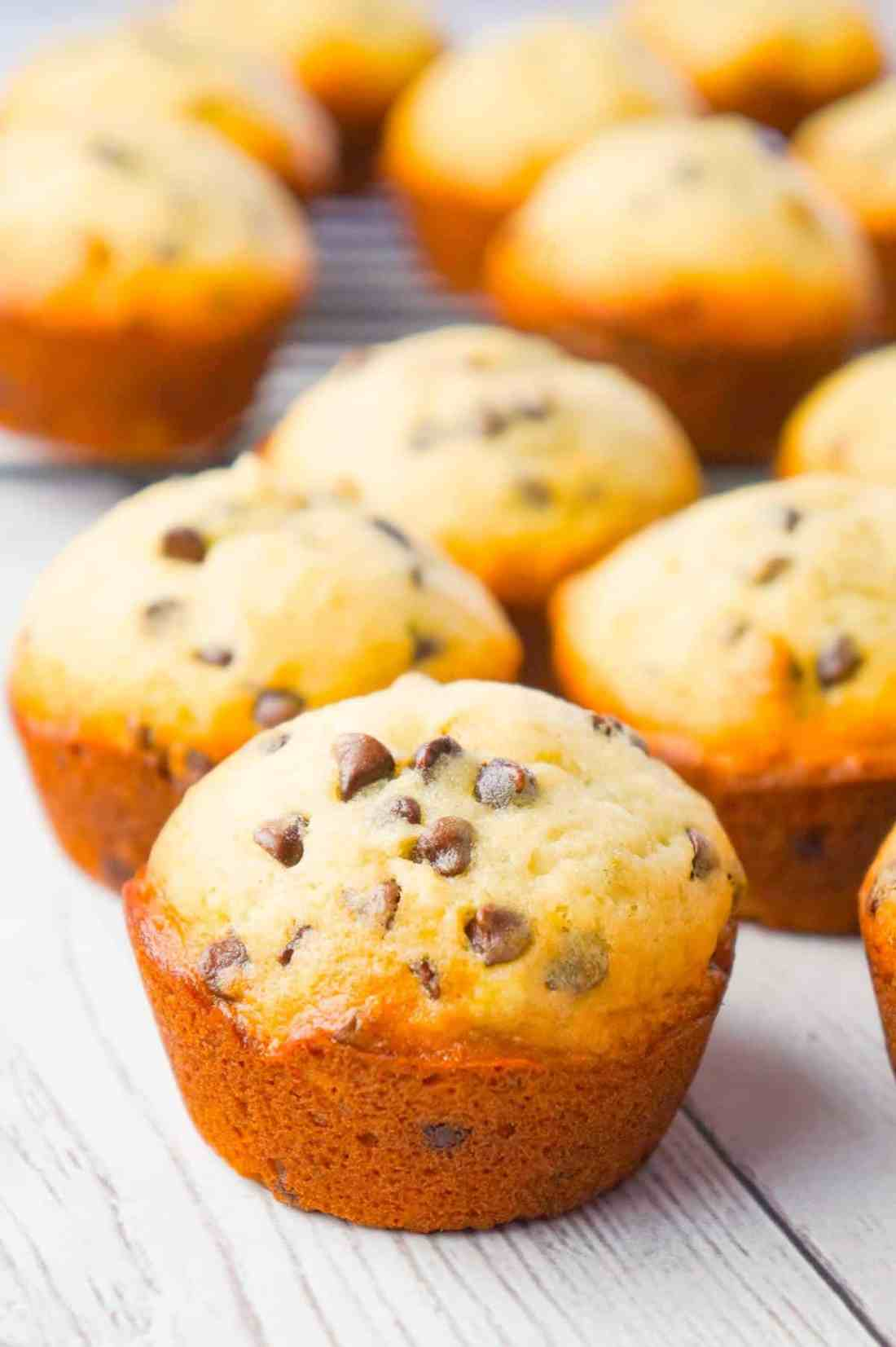 Chocolate Chip Banana Muffins are an easy breakfast or snack recipe made from ripe bananas and loaded with mini semi sweet chocolate chips.
