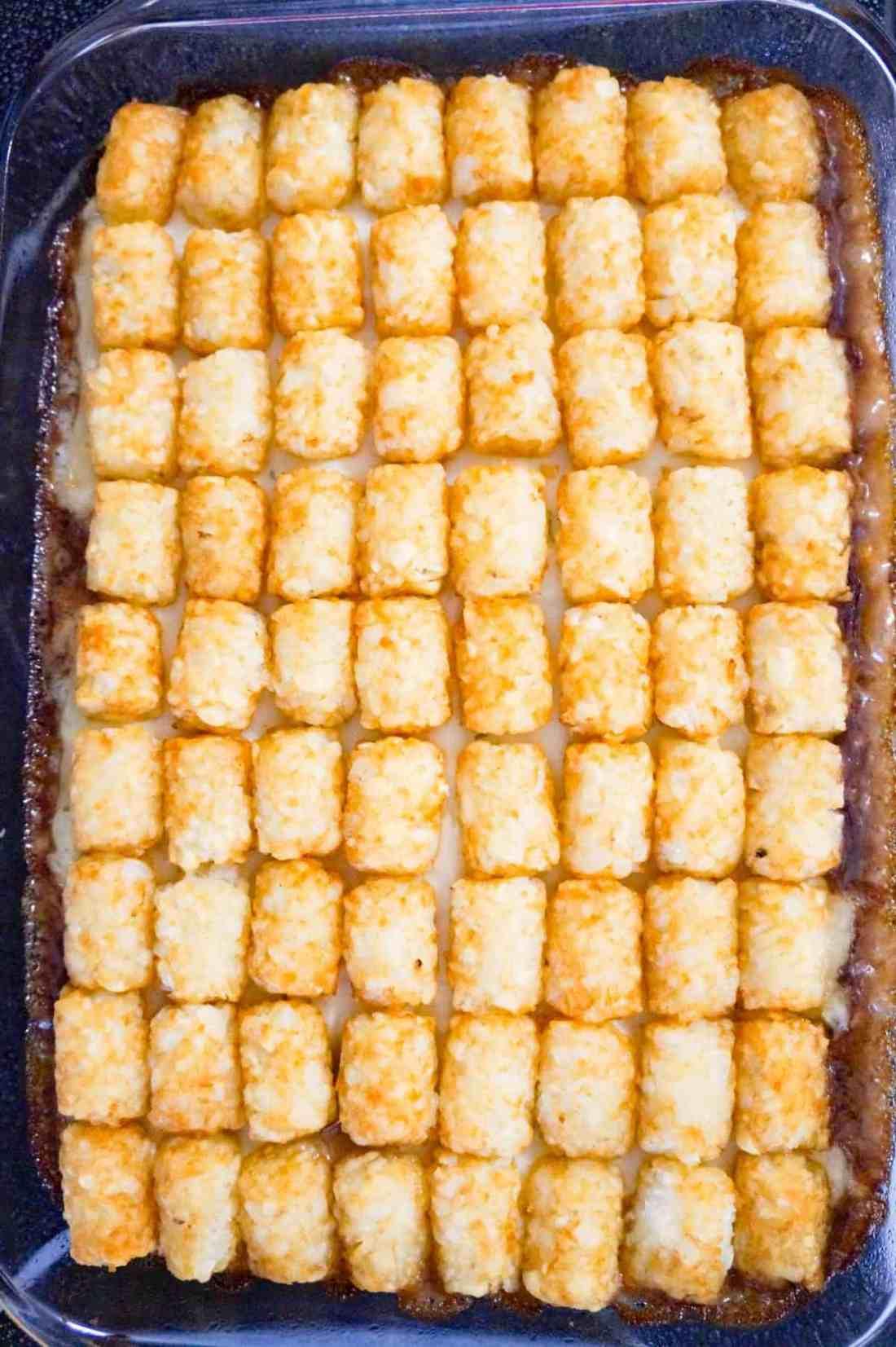tater tot casserole after baking