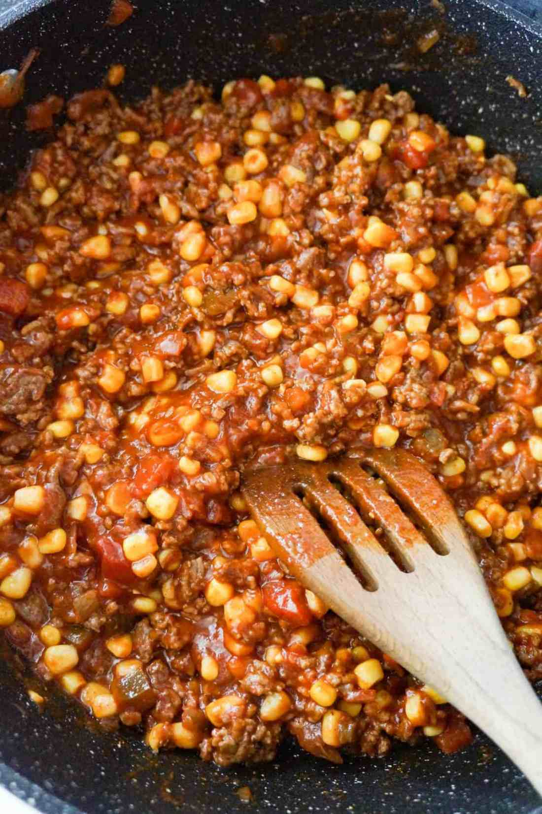 ground beef chili mixture in a saute pan
