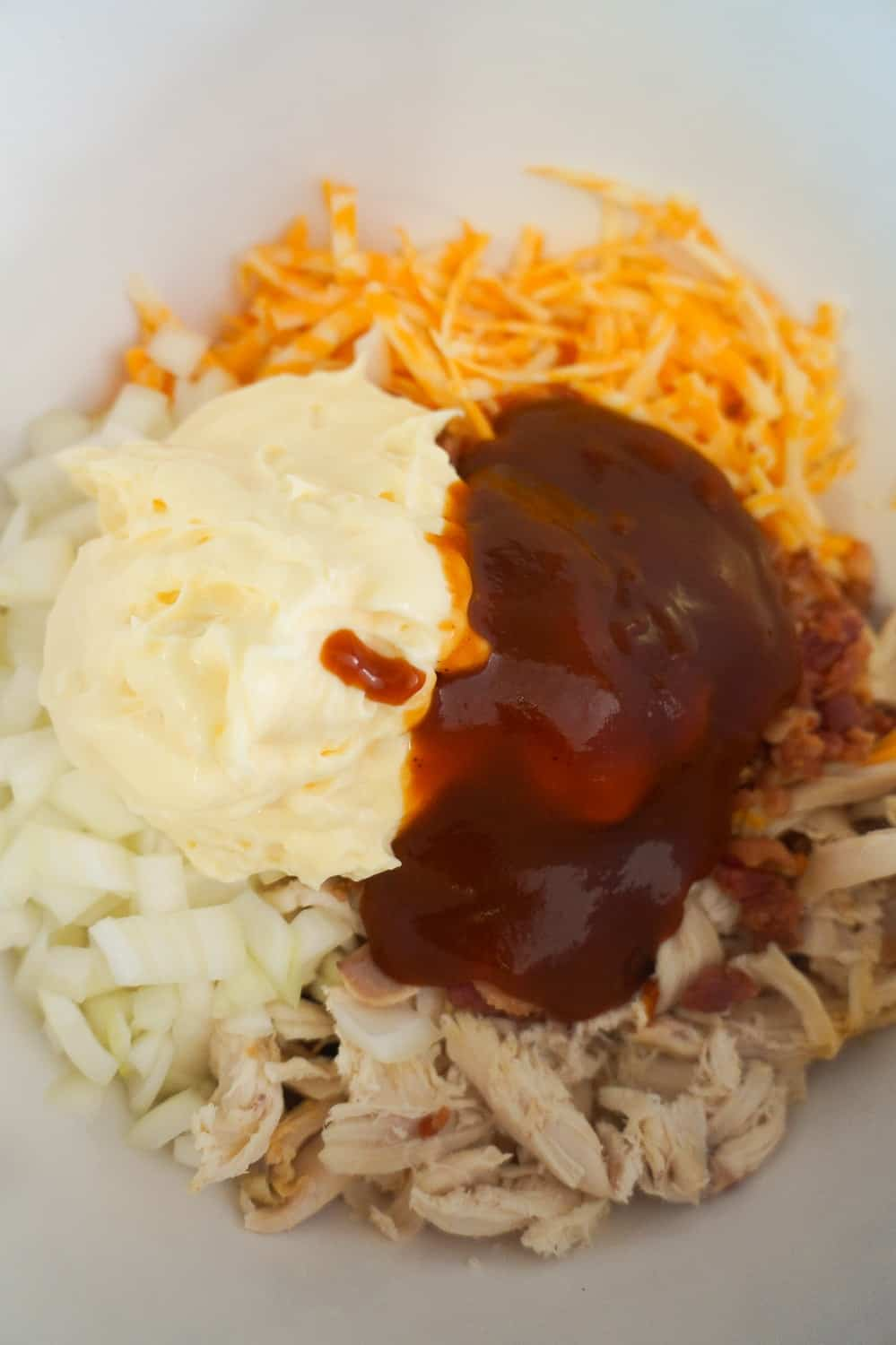 mayo and BBQ sauce in chicken salad