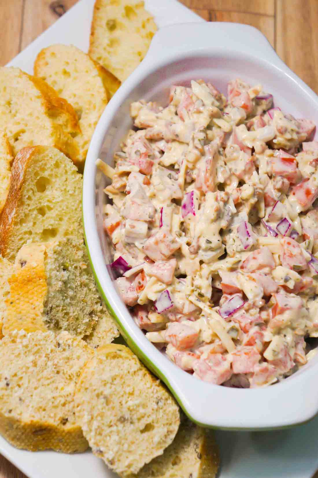 This cold bruschetta dip is the perfect party food.
