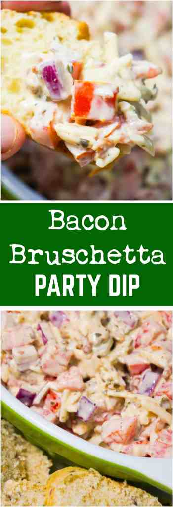 Bacon Bruschetta Party Dip is an easy appetizer recipe loaded with tomatoes, bacon, cheese, basil pesto and mayo. This cold dip can be served with sliced baguette or crackers.