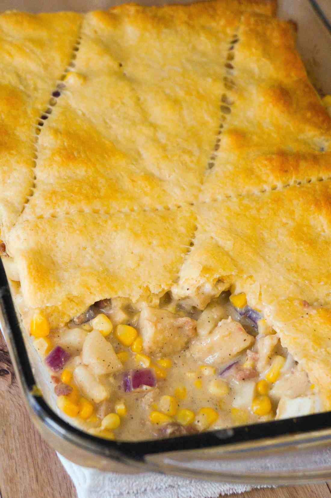 Bacon Chicken Pot Pie Casserole topped with Crescent Rolls is the perfect winter comfort food dish.