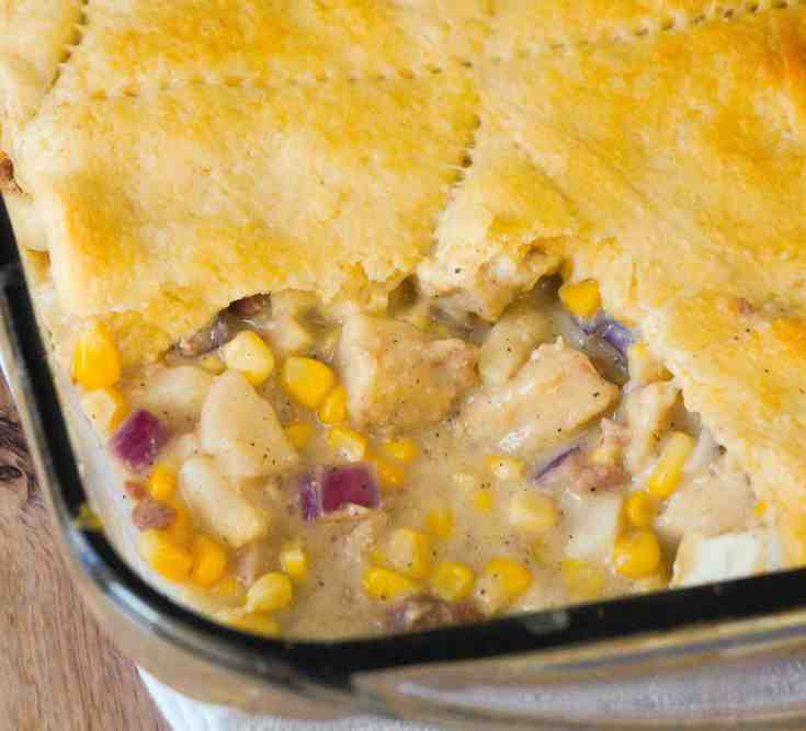 Bacon Chicken Pot Pie with Crescent Rolls