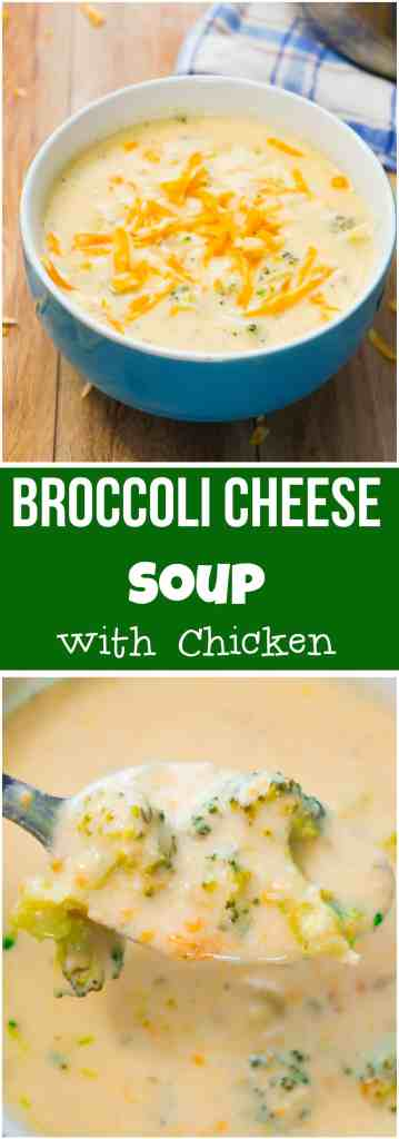 Broccoli Cheese Soup with Chicken. Easy soup recipe loaded with broccoli and cheddar cheese.