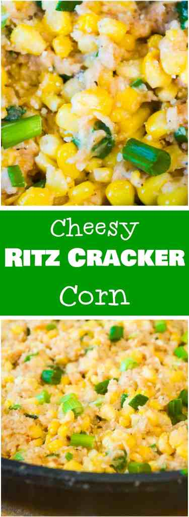 Cheesy Ritz Cracker Corn is an easy side dish perfect for almost any meal. Serve this corn loaded with Swiss Cheese, Parmesan and Ritz Cracker crumbs with your Christmas or Thanksgiving dinner.