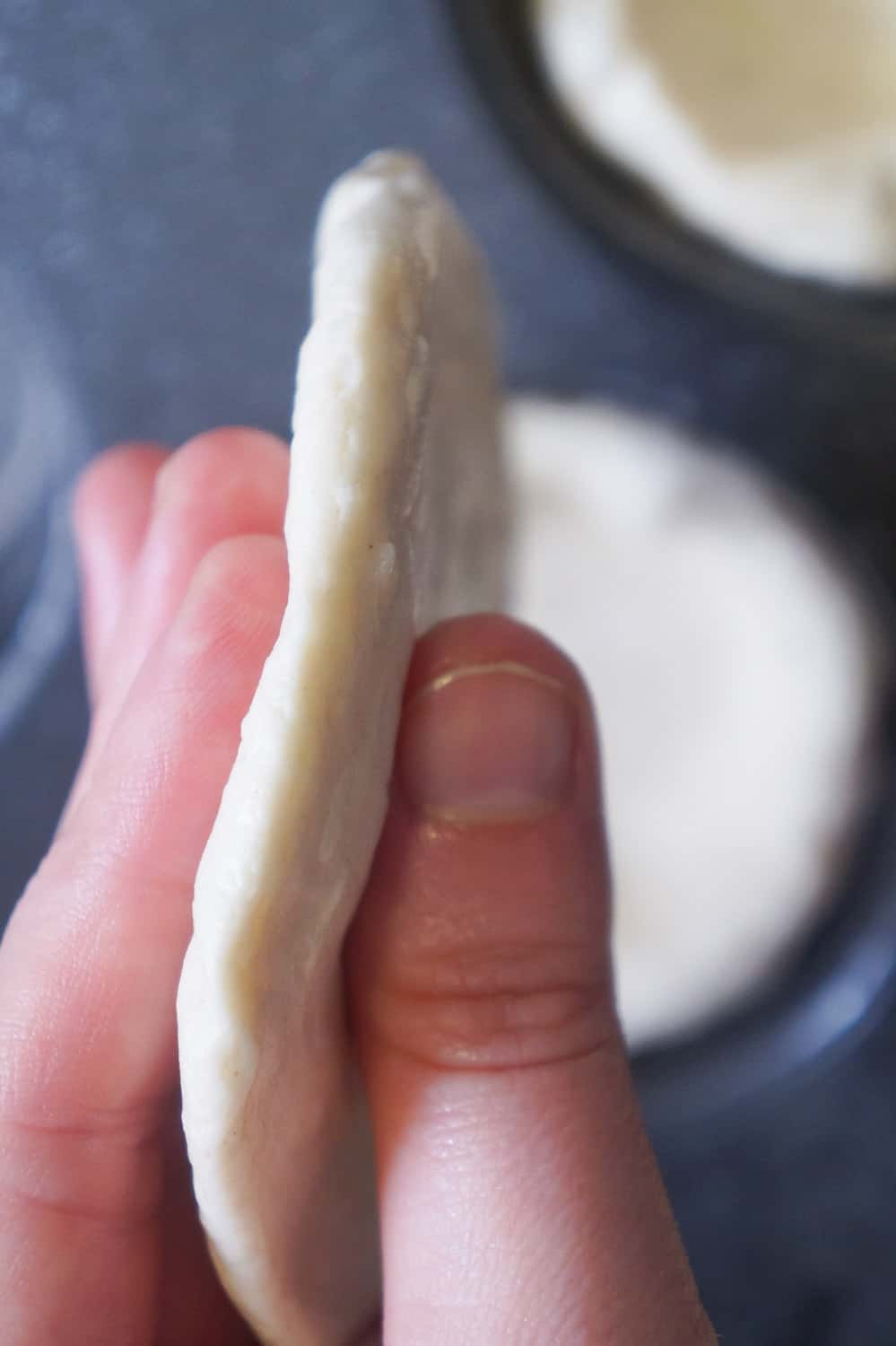 flattened out biscuit dough