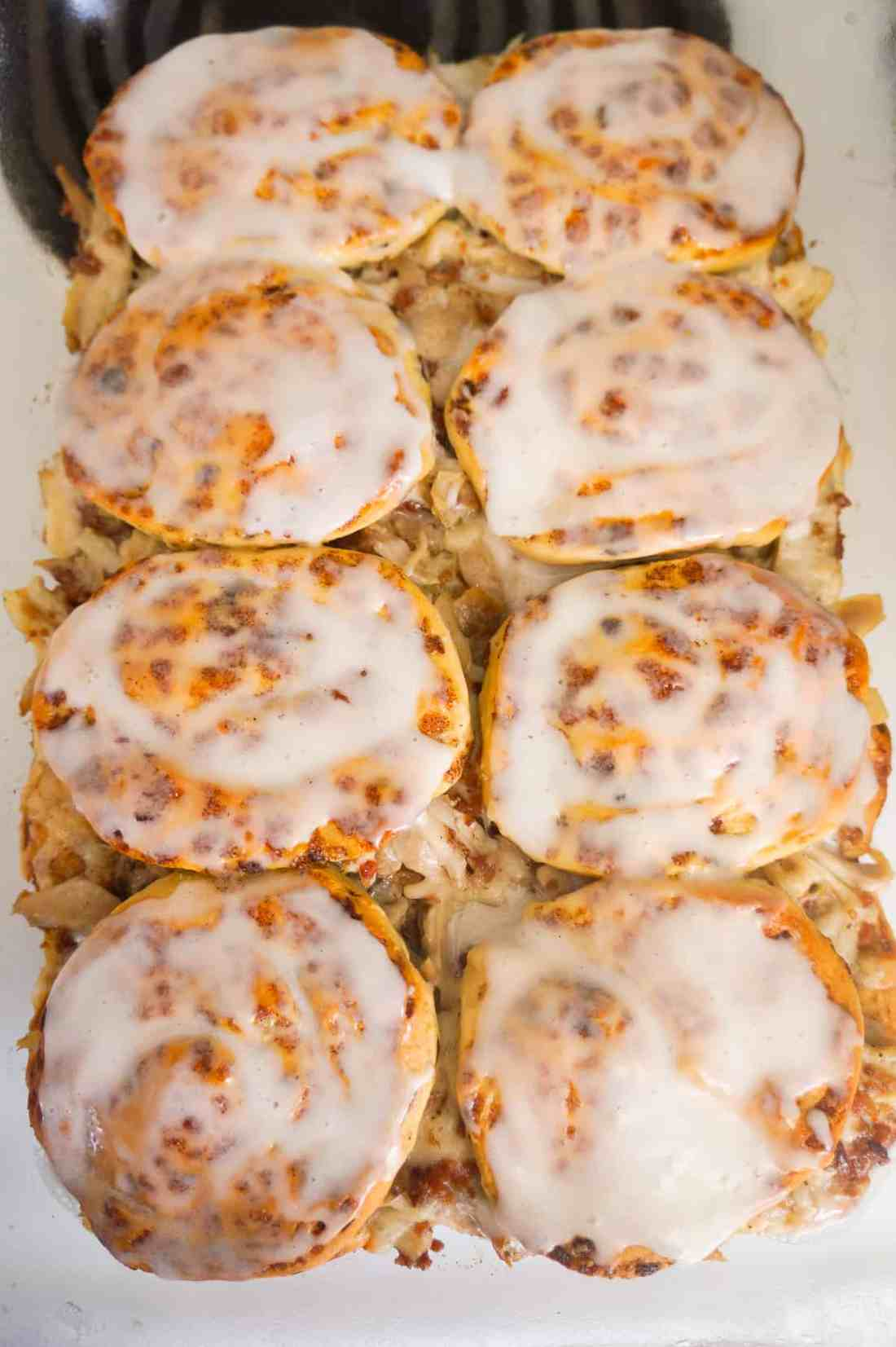 cinnamon roll breakfast casserole with icing