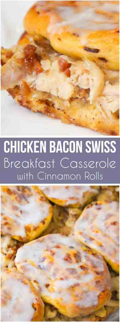 Chicken Bacon Swiss Breakfast Casserole with Cinnamon Rolls is a fun and easy breakfast or brunch recipe. This easy casserole recipe uses rotisserie chicken and Pillsbury Cinnamon Rolls to save on time.