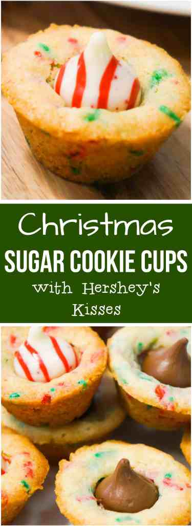 Christmas Sugar Cookie Cups are an easy holiday dessert recipe made in mini muffin tins. These festive sugar cookies with red and green sprinkles are topped with Hershey's Milk Chocolate Kisses and mint flavoured Candy Cane Kisses. These sugar cookie cups are soft and chewy.