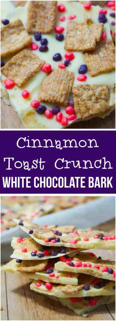 Cinnamon Toast Crunch White Chocolate Bark is an easy no bake dessert recipe. This bark is loaded with Cinnamon Toast Crunch cereal and Nerds candies.