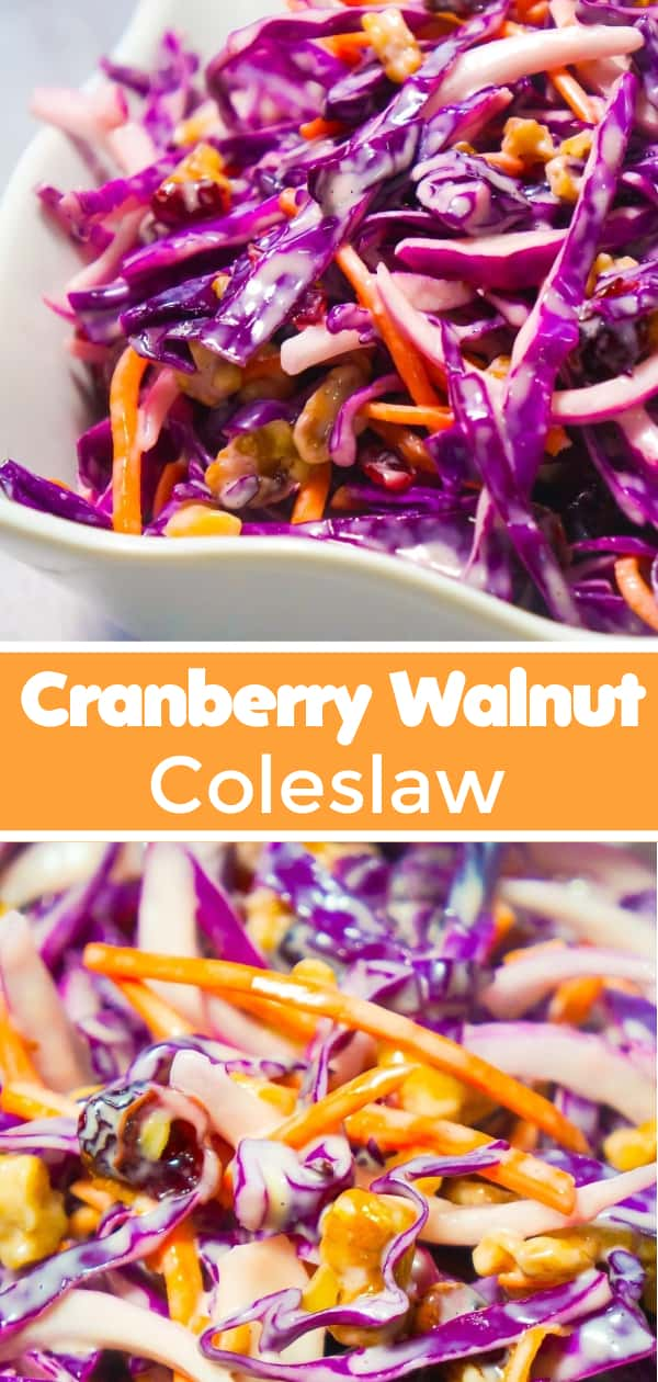 Cranberry Walnut Coleslaw is an easy side dish recipe perfect for summer. This colourful salad is made with red cabbage and loaded with carrots, red onion, dried cranberries and walnuts.