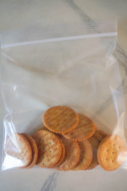 Ritz crackers in a ziploc bag