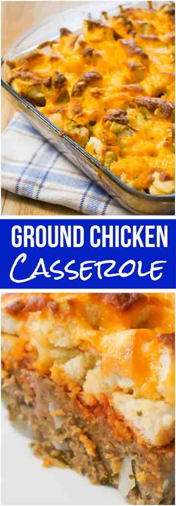 Easy Ground Chicken Casserole. This chicken casserole is topped with marinara sauce and cheesy garlic bread for any easy dinner recipe.