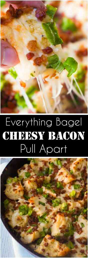 Everything Bagel Cheesy Bacon Pull Apart is the perfect party food. This cheesy garlic bread made with everything bagels and loaded with bacon is great for sharing.