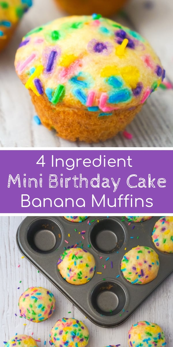 Mini Birthday Cake Banana Muffins are an easy snack or dessert your kids will love. These colourful mini muffins are made with confetti cake mix, ripe bananas and lots of sprinkles.