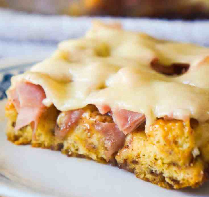 Monte Cristo Breakfast Casserole is an easy cinnamon roll casserole.