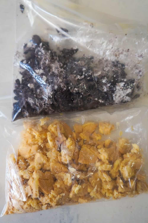 crumbled Oreos in Ziploc bags