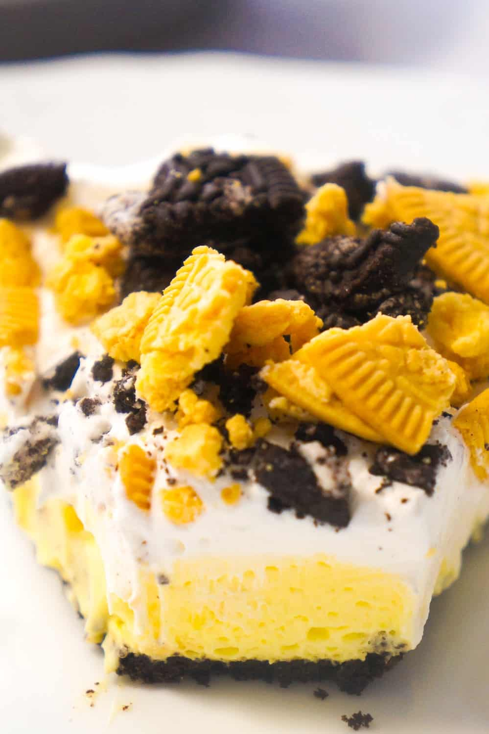 No Bake Lemon Oreo Pie is an easy dessert recipe perfect for summer. A store bought Oreo cookie crust is filled with instant lemon pudding and Cool Whip and topped with crumbled Oreo cookies.
