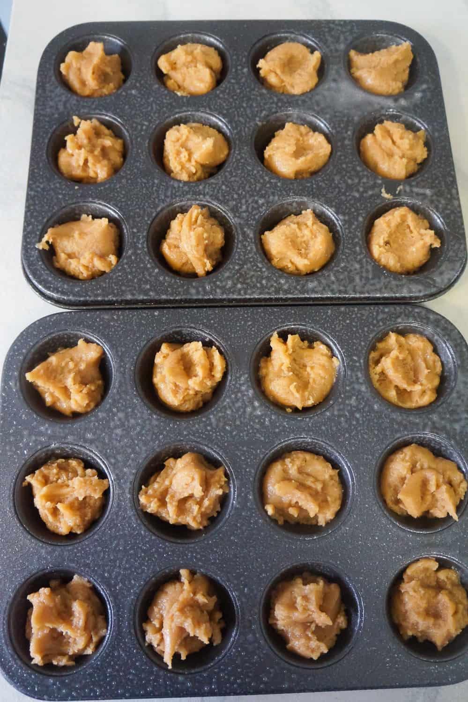 blondie batter in muffin tins