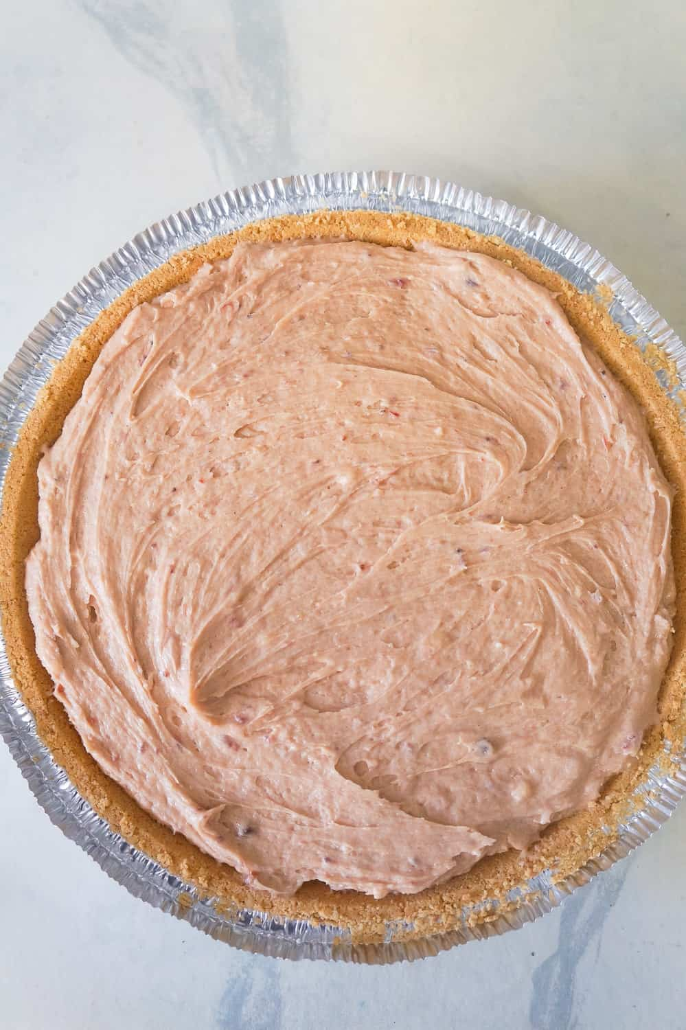no bake peanut butter and jelly pie in graham crust