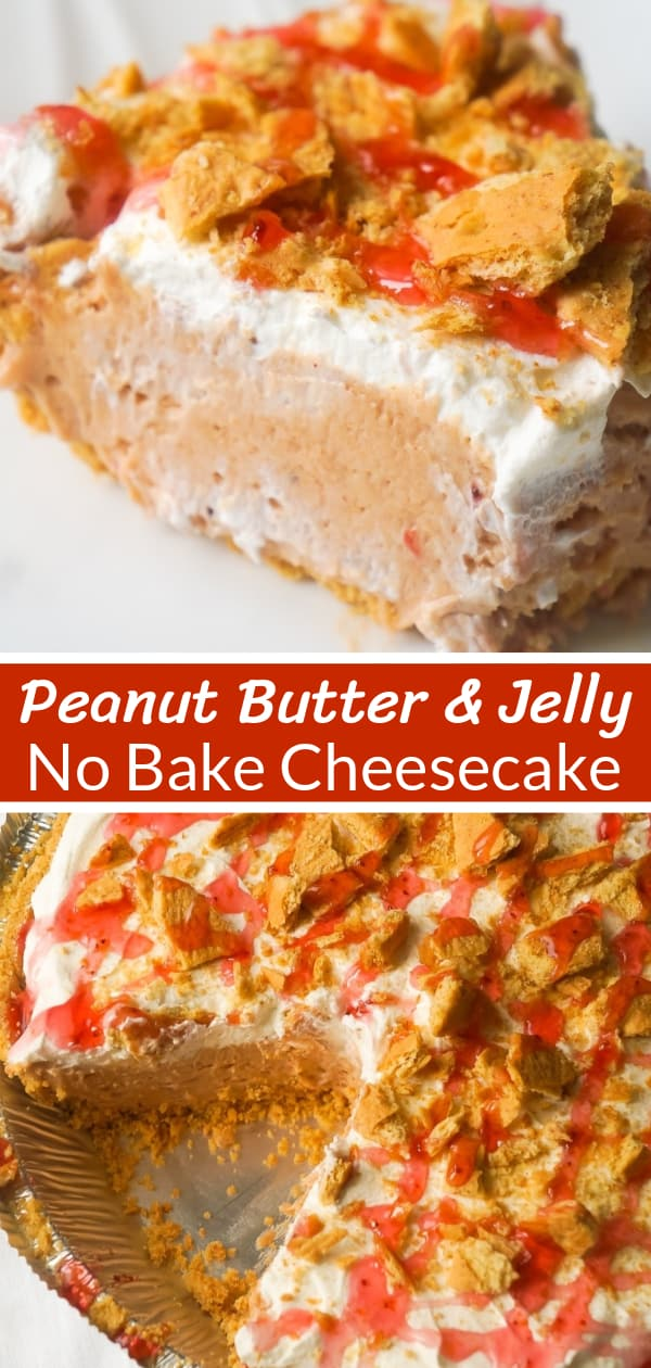 Peanut Butter and Jelly No Bake Cheesecake is an easy dessert recipe perfect for summer. The graham cracker crust is filled with a smooth and creamy PB & J filling that will remind you of the classic sandwich from your childhood.