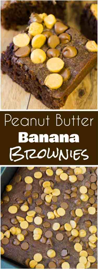 Peanut Butter Banana Brownies are an easy chocolate peanut butter dessert recipe. These peanut butter brownies loaded with peanut butter and chocolate chips are a fun change from classic banana bread.