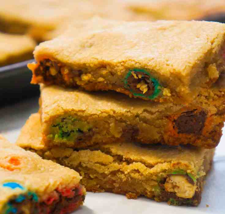 Peanut Butter Cookie Bars with Reese's Peanut Butter Cups