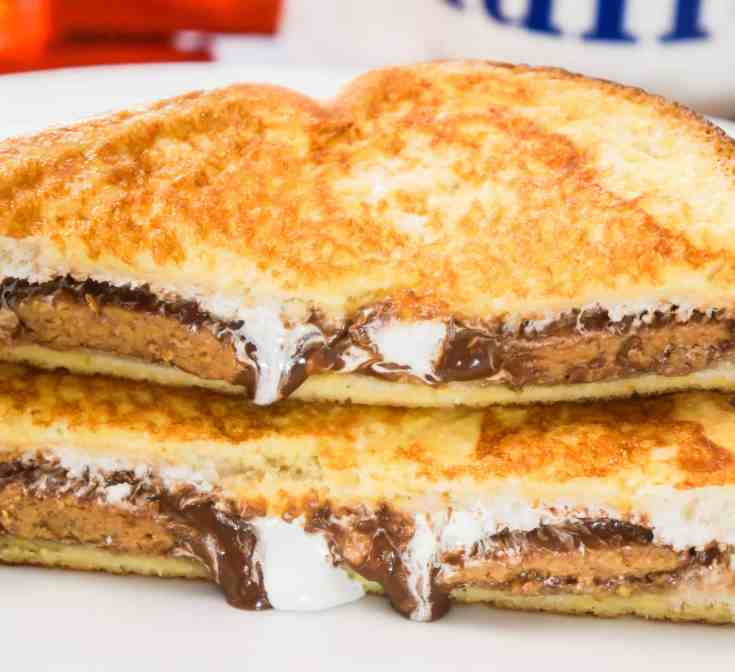 Close up peanut butter cup french toast.