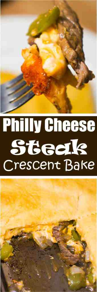 Philly Cheese Steak Crescent Bake is an easy dinner recipe with all the flavours of the classic Philly Cheese Steak Sandwich. Sliced steak, green peppers, onions and cheddar cheese are topped by a sheet of Pillsbury crescent roll dough.