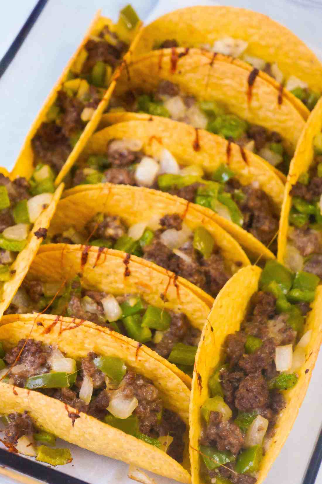 Philly Cheese Steak Tacos are an easy ground beef recipe.