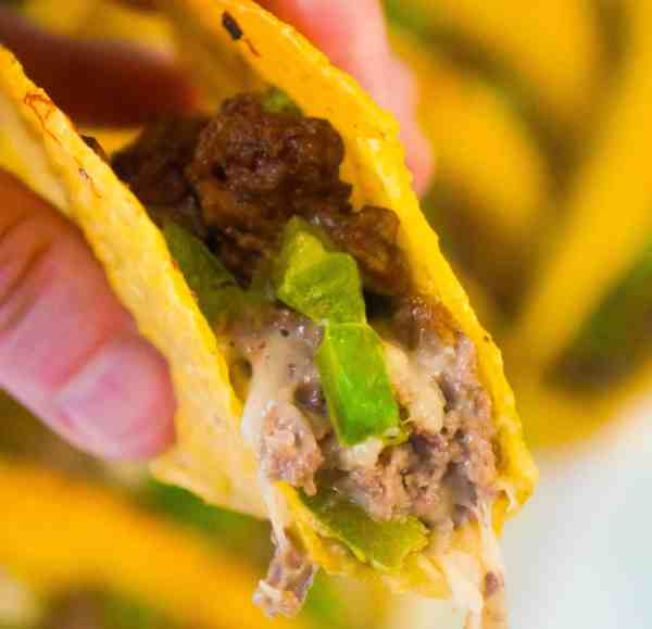 Philly Cheese Steak Tacos with ground beef.