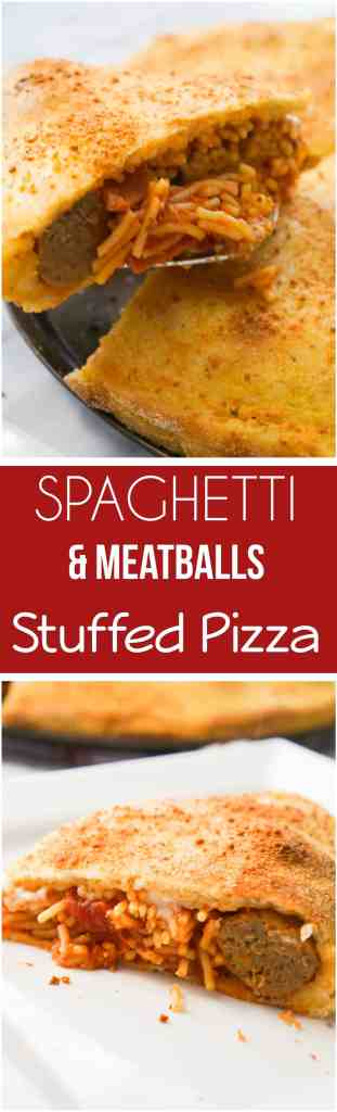 This Spaghetti and Meatballs Stuffed Pizza is an easy dinner recipe using store bought pizza dough. Pizza and pasta come together in one dish loaded with pepperoni and cheese.