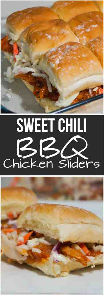 Sweet Chili BBQ Chicken Sliders are a great party food or easy dinner recipe. These mini sandwiches are made using leftover shredded chicken tossed in a sweet and spicy BBQ sauce and topped with coleslaw.