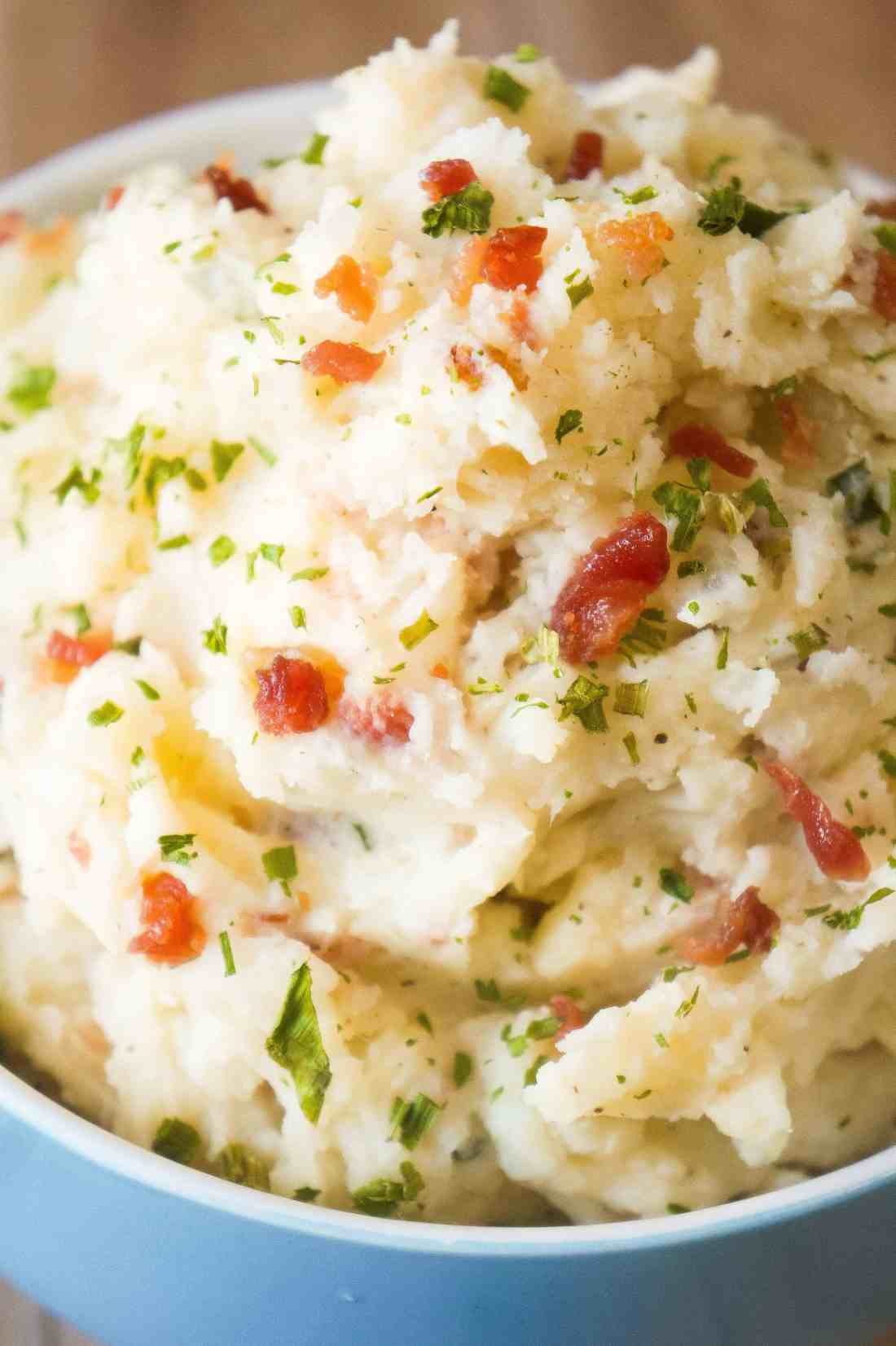The Best Bacon Cream Cheese Mashed Potatoes are an easy side dish packed with flavour.