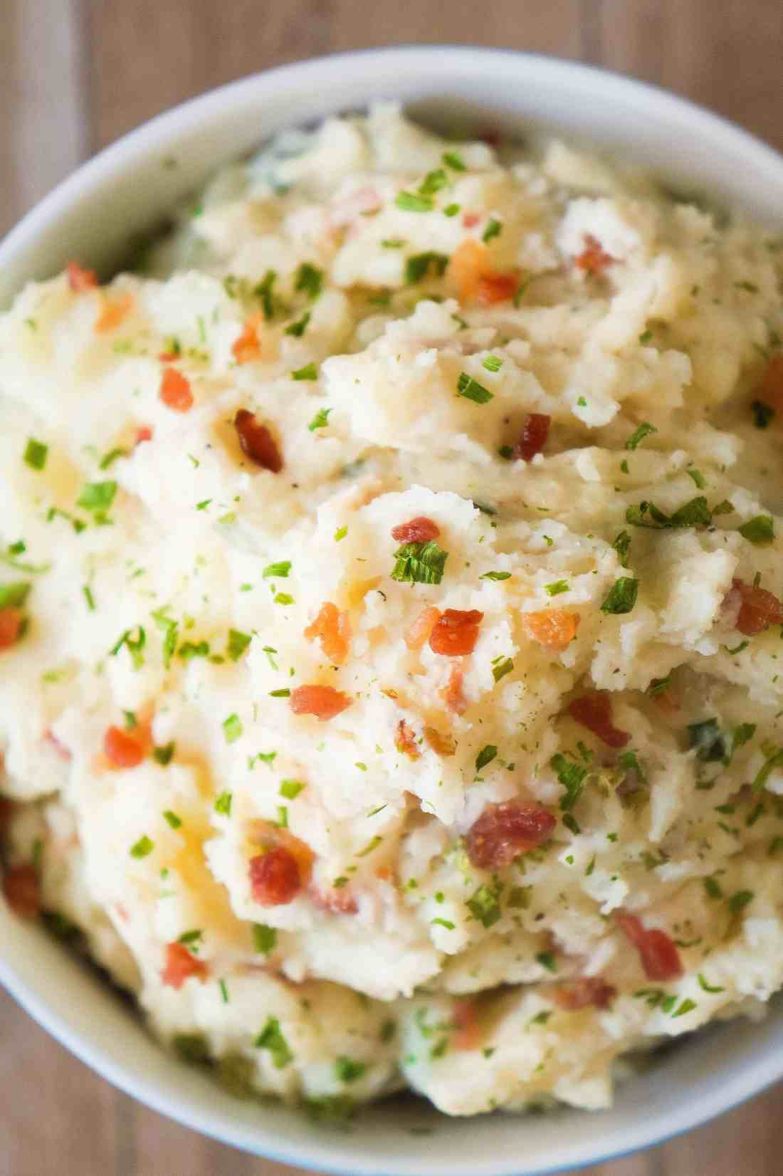 Cream Cheese Mashed Potatoes loaded with bacon, dried onions and a hint of garlic.