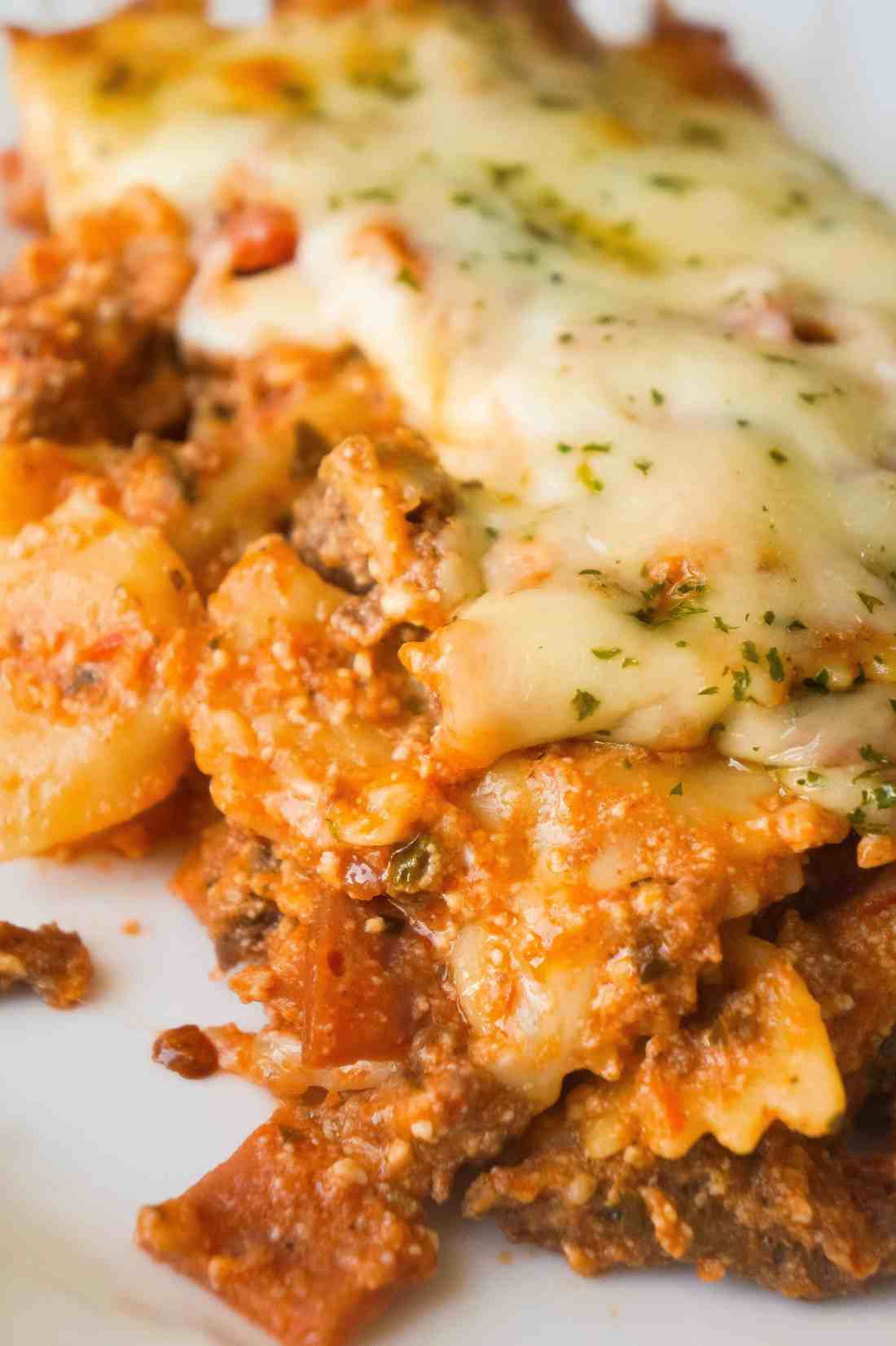 Three Meat Lasagna Casserole is an easy dinner recipe loaded with ground beef, pepperoni, bacon and cheese. This fun twist on lasagna requires no layering and only takes 45 minutes from start to finish.