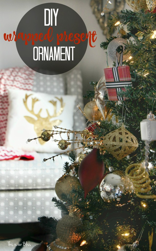 diy wrapped present ornaments - tree and chair - easy holiday decor  - this is our bliss
