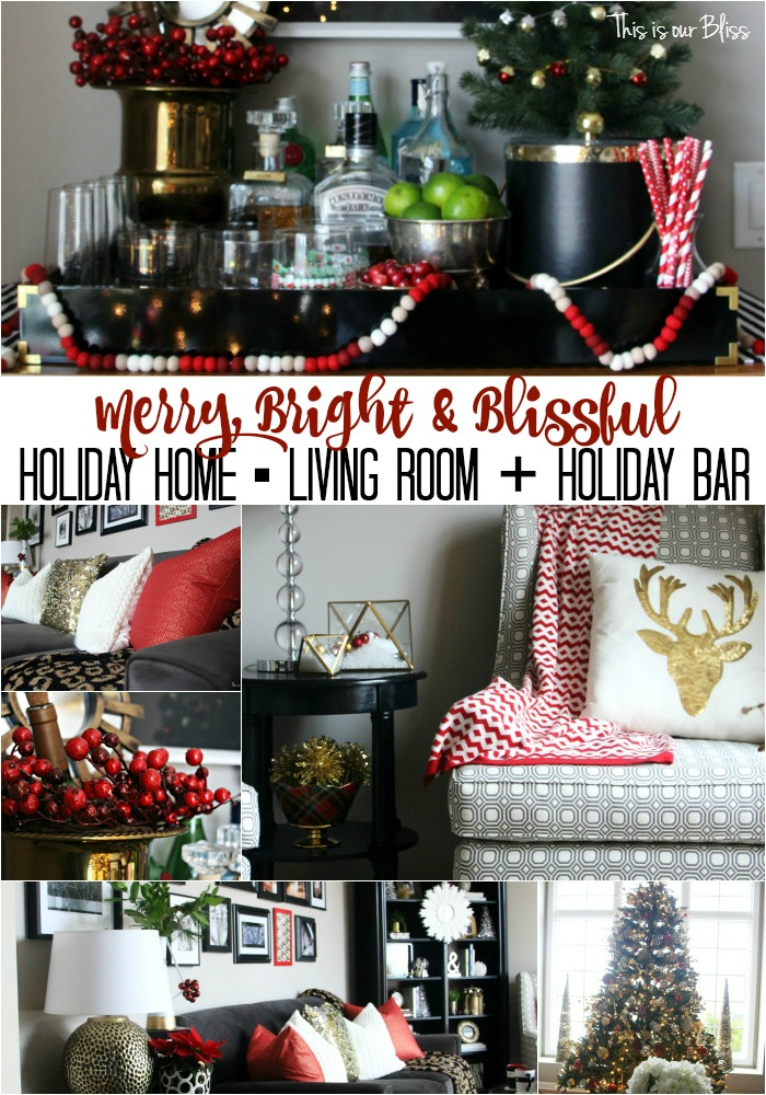 merry bright and blissful holiday home - living room & holiday bar - christmas cocktail bar tray - festive bar - thisisourbliss.com