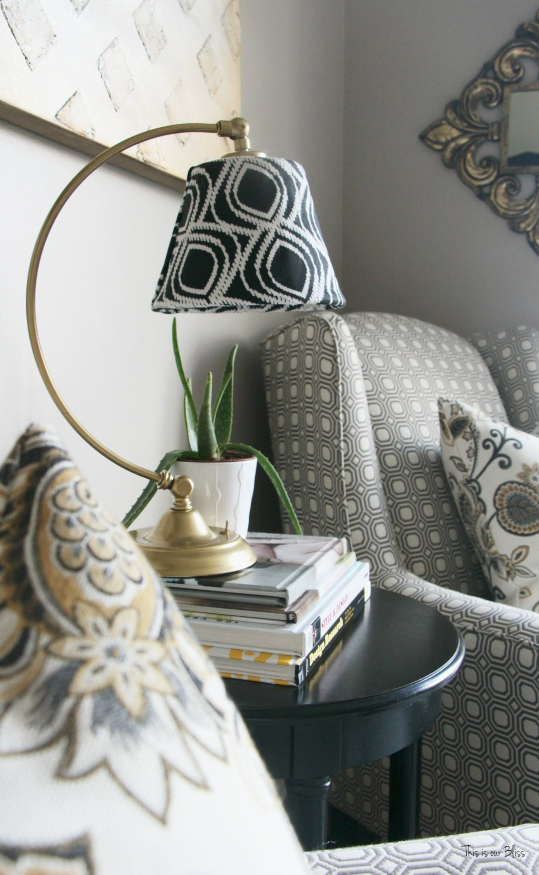Its so ugly its cool thrift challenge   Lampshade redo   how to recover an old lampshade   black white and gold decor DIY lampshade 2    This is our Bliss