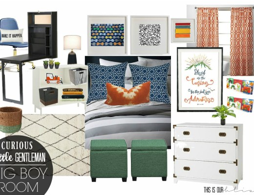 Curious Little Gentleman Big Boy Room Design Board | This is our Bliss | www.thisisourbliss.com