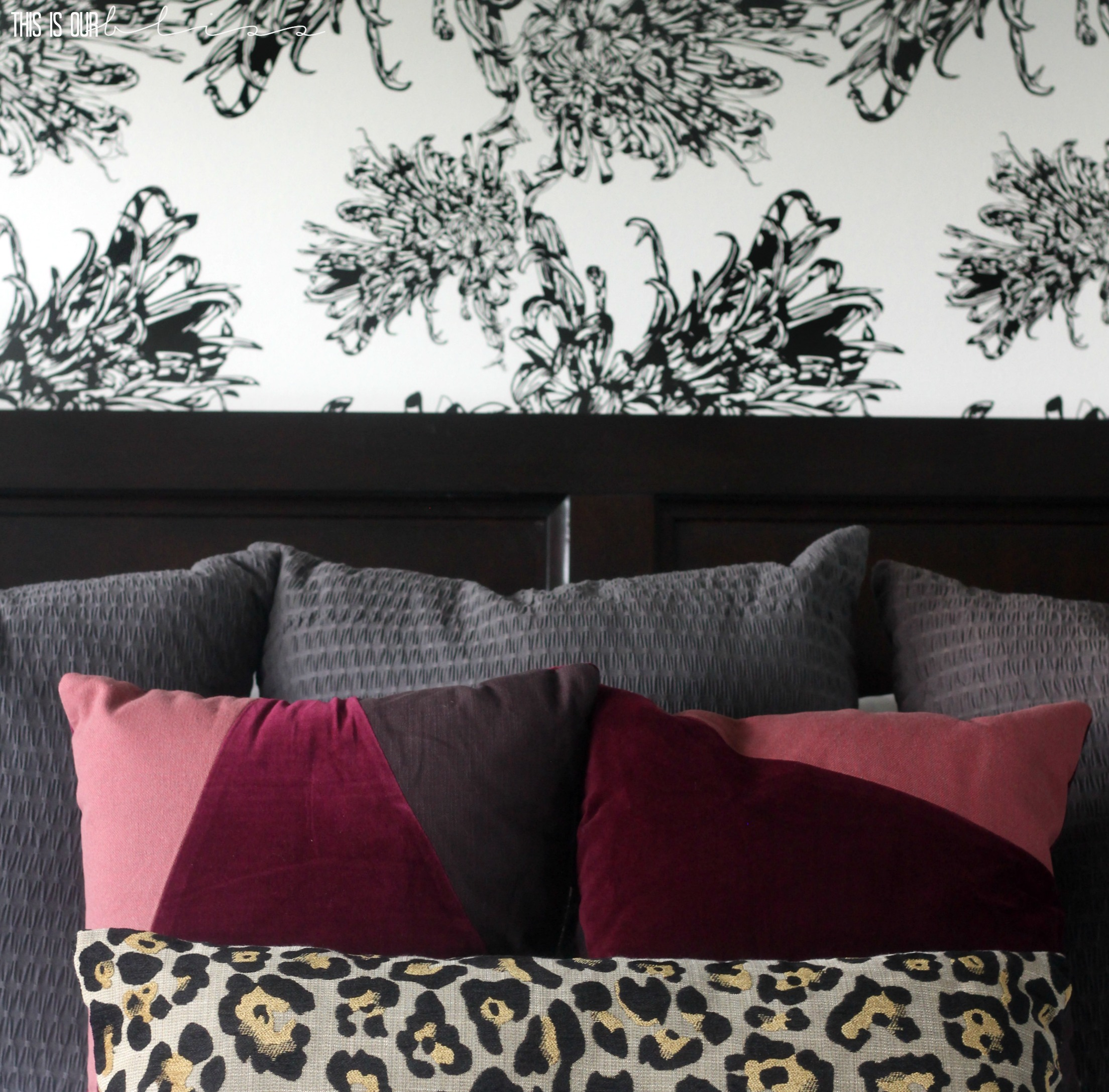 Master Bedroom Accent Wall with Wallpaper: This is our Bliss