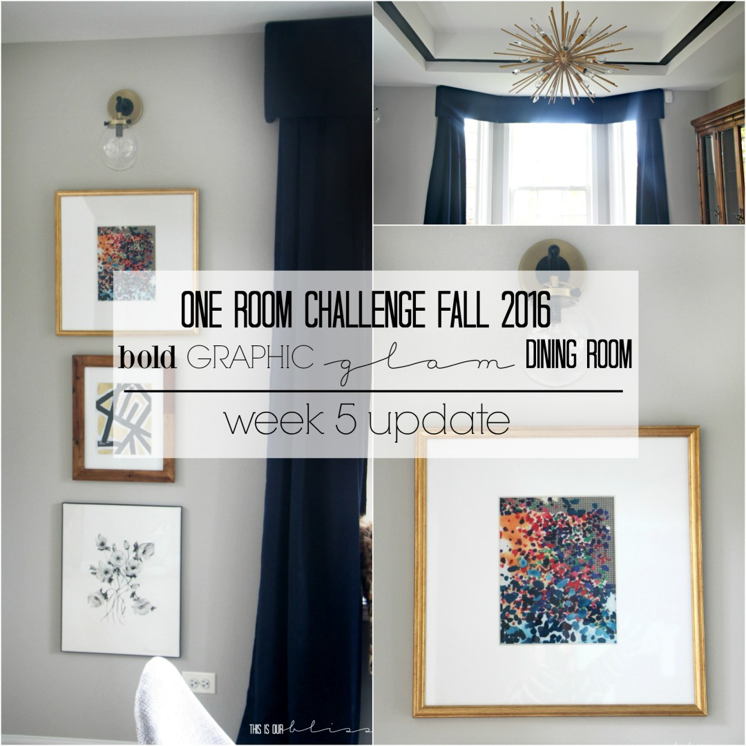 Bold Graphic Glam Dining Room | One Room Challenge Fall 2016 | This is our Bliss | www.thisisourbliss.com