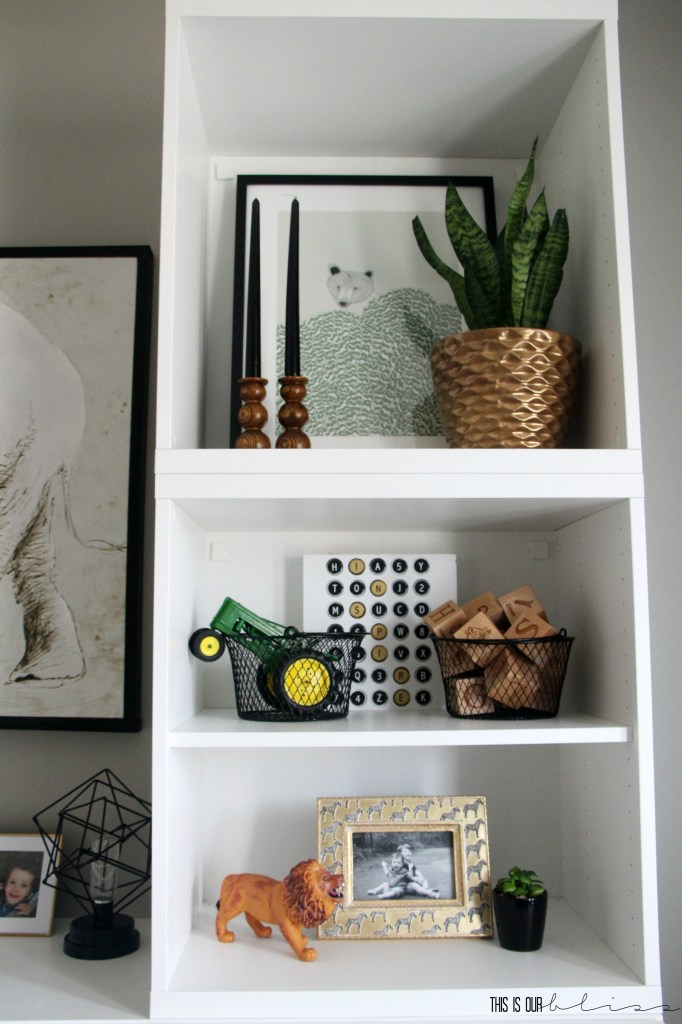 Bold-modern-playroom-reveal-shelf-styling-with-plants-and-wood accents This is our Bliss