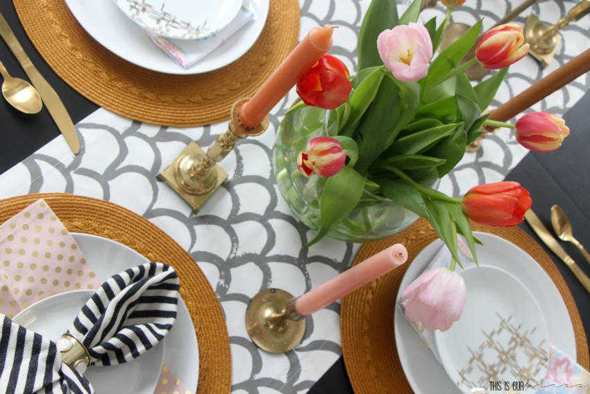 A Spring Tablescape with Tulips & Tapers | Spring Tablescape Hop | This is our Bliss